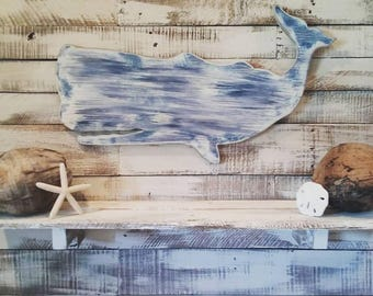 Adorable Rustic Whale - Perfect for any Coastal Decor!!