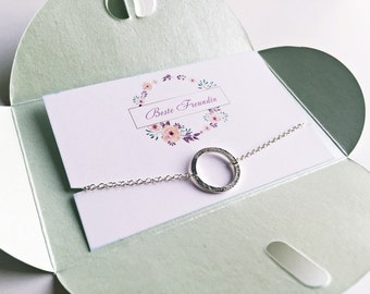 Bracelet circle SILVER, best friend, best friend gift with necklace in gold, silver or rosé gold