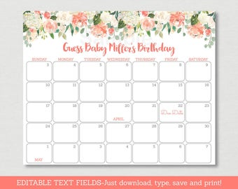 Peach Floral Baby Due Date Calendar / Floral Baby Shower / Watercolor Floral / Birthday Predictions / INSTANT DOWNLOAD Editable PDF A163