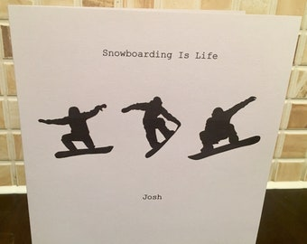 Snowboarding Card Personalised Card Skiing Theme Snow Sports Birthday Fathers Day Any Occasion