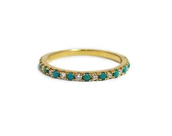 Eternity Wedding Ring, Gold turquoise Ring, December Ring, Turquoise Engagement Ring, Diamond Ring, Diamond Turquoise Wedding Band.