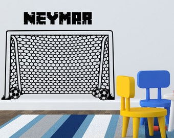 Soccer Goal Wall Decal with custom name-Sport Soccer Wall Decal Art Decor-Football Goal Net Decals Stickers-Soccer Boys Room Walldecals @124