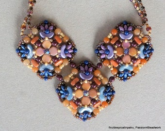 Harlequin Necklace Pattern / Beadwoven Necklace Instructions / Arcos and Honeycomb beads tutorial / PDF INSTRUCTIONS ONLY