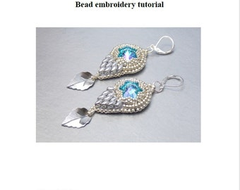 Tutorial ,Pattern,  Bead embroidery ,Beading pattern , Instructions only , All dressed in silver , Earring