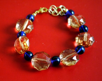 Handmade Moroccan Lapis and Vintage Bead Bracelet