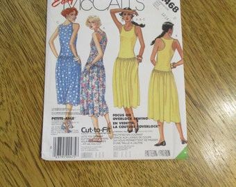 VINTAGE 1980s Sleeveless Tank Dress - Dropped Waist Stretch Knit Summer Gown - Size (12 - 14 - 16) - UNCUT Sewing Pattern McCalls 2468