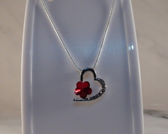 Red Heart Necklace, Silver Heart Necklace, 925 Sterling Silver Necklace, Snake Chain Necklace, Valentines Necklace, Gift for Her