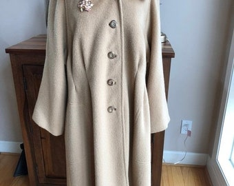 Vintage Ladies Wool and Mohair Camel Coat by Rice Coat Company