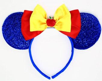 Snow White Ears Blue Minnie Mouse Ears Headband Snow White Disney Ears Blue Mickey Mouse Ears Princess Women Girls Snow White Headband