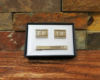 Personalized Cuff Link & Tie Clip Set, Father of the Bride, Groom, Groomsmen, Best Man(CU-32T-601)