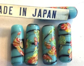 Vintage millefiori (4)  glass bead  Japanese turquoise blue tube focal floral flower perfect for earrings 21mm  (4)