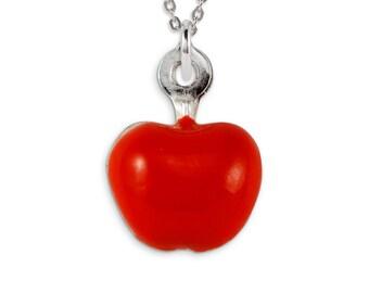 925 Sterling Silver Red Enamel Apple Pendant Charm