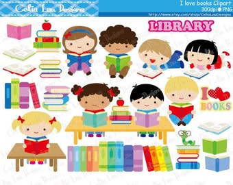Kids Love Reading Clipart / Book lover / Book clip art / Library clipart /Back to School supplies / book worm / INSTANT DOWNLOAD (CG166)