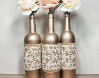 Wine Bottle Decor, Wine Bottles Decorated, Wine Bottle Vase, Wedding Wine Bottles, Rustic Wedding Decor, Rustic Wedding Decorations,