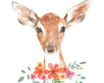 Fawn in Field Print, Watercolor Deer Print, Art for Home, Girls Room Decor, Woodland Animal Print, Fawn Art Print, Cute Fawn with Flowers
