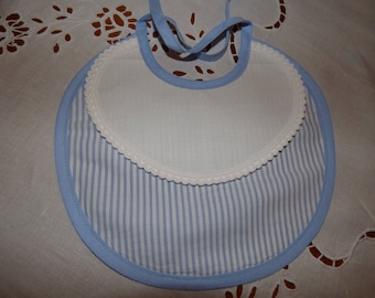 Lined bib, blue and white and blue trim to custom