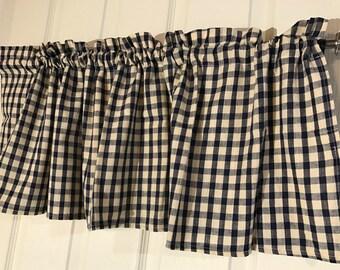 Homespun navy and tan check primitive  curtain valance