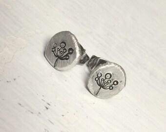 Recycled Sterling Stamped Dandelion Stud Earrings