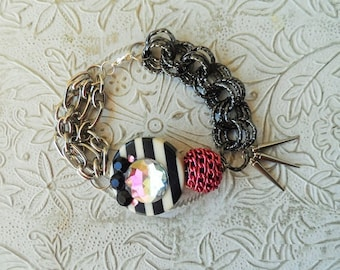Mixed media chain link bracelet