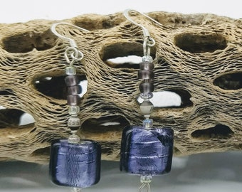 Gray resistor earrings with square purple bead