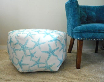 Pouf Ottoman in Starfish fabric - Floor Pillow  Stool - Nautical Beach House Decor, Starfish Pillow