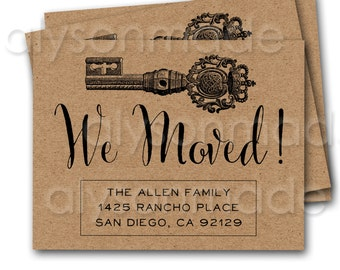 We Moved Announcement Postcard - vintage key address change moving announcement customized and personalized - digital file