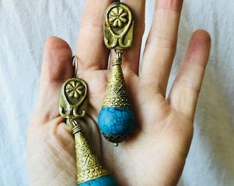 Kuchi Earrings Drop Earrings. Turquoise Colored