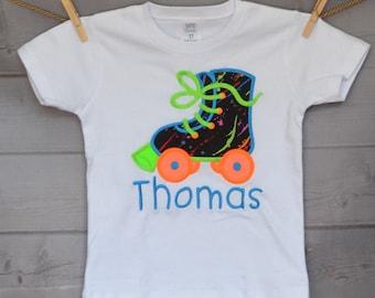 Neon 80's Disco Roller Skate Applique Shirt or bodysuit Boy or Girl