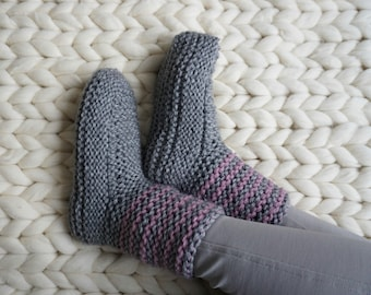 Slipper Socks, Homewear, Boot Slippers, Gray Slippers, Indoor Shoes, Womens Slippers, House Slippers, Gift For Her, Knit Slippers,Knit Socks