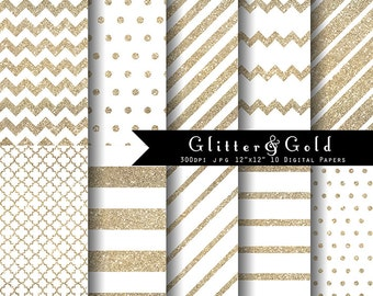 Glitter and Gold Digital Paper set- white and gold, white Christmas glitter digitals INSTANT DOWNLOAD