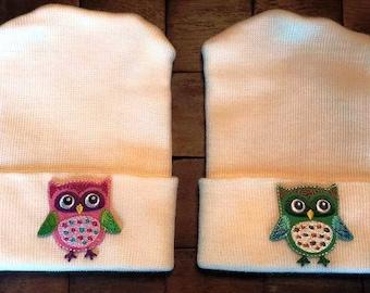 Twin Owl Hospital Hats - Newborn Hospital Hats - Baby Girl Hats - Baby Boy Hats - Owl Hats - Newborn Hats - Twin Hats - Baby Hats -TWINS