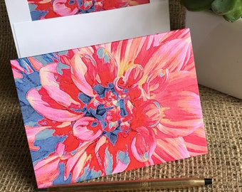 Dahlia Note Card | Dahlia | Floral Note Card | Blank Note Card | Birthday Card