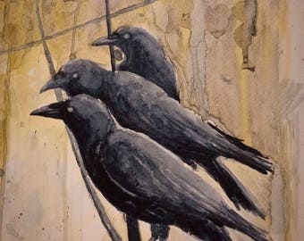 RAVENS CROWS on CANVAS * Edgar Alan Poe * Dark Wall Art * Giclee Print of the original watercolor on stretched canvas ready to hang