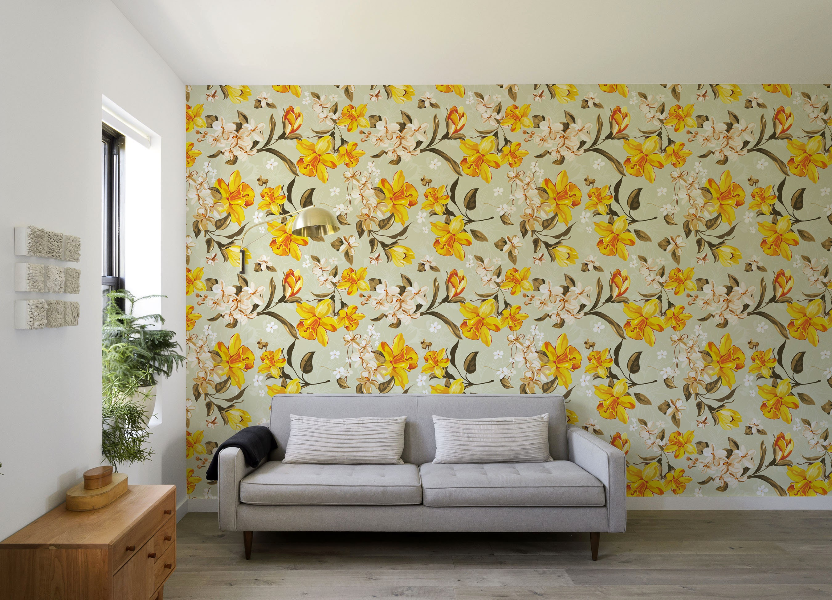 Yellow Peony Self Adhesive Wallpaper Floral Removable Flower