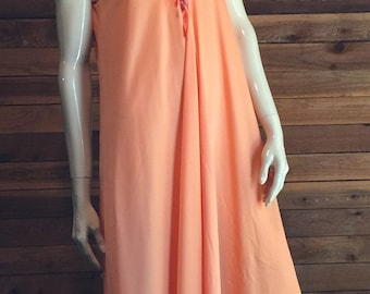 Vintage Lingerie 1970s 'PEARL' PRIVATE TREAUSRES Orange Size Small Nightgown