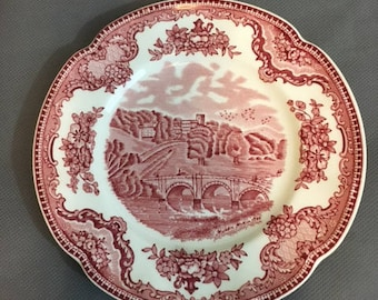 """Vintage Old Britain Castles Decorative Plate Red Countryside by Johnson Bros 6 1/4"""" diameter"""