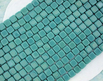 1 Strand ~ 6mm Persian Turquoise Czech Glass Tile Beads, CzechMates, Two Hole Glass Beads, czech mate tile beads CZ-184