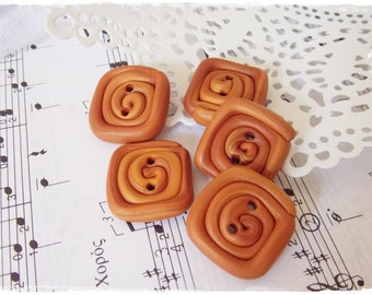 Polymer Clay Buttons, Spiral Buttons, Large Square Buttons, Caramel Brown Buttons, Rectangular Buttons, Knitting Supplies, Cinnamon Buttons