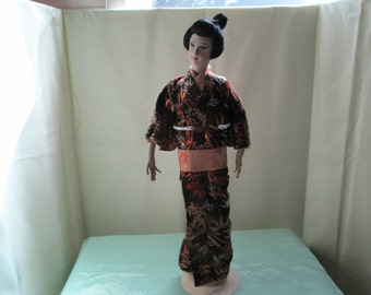 Japanese Cherry doll from 1920-30's with Silk Kimono & wood stand