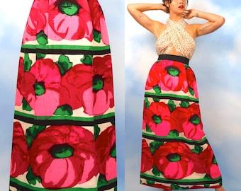 Vintage 60er 70er Jahre High Waisted Fett Floral Print Leinen Maxirock (Größe Xs, kleine)