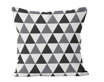 Black and Gray Triangles Pillow Cover, geometric scandinavian minimalist pillow cushion cover decor, lumbar black grey pillow cover _M