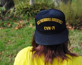 USS THEODORE ROOSEVELT Vintage commemorative Snapback hat