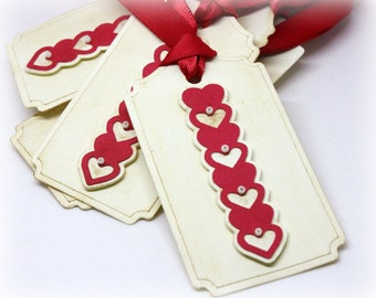 Valentine's Day Tags (Tripled Layered) - Heart Gift Tags - 3D Hang Tags - Labels - 3 Dimensional Gift Wrap Tags (Set of 8)