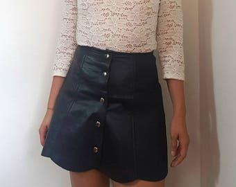 Made in France / Vintage skirt / Black leather skirt / vintage leather / Size S