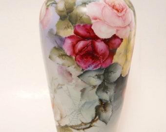 """Antique Limoges France Porcelain Vase Hand Painted Roses 13""""~ c.1900 ~ OFFERS Welcomed"""