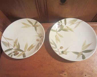 "Set of 2 Home Target Ceramic Stoneware 8.5"" Salad/Bread Plate Olive Branches Thick and Heavy"