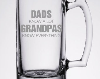 Dads Know a Lot Grampas Know Everything 26 oz Etched Beer Mug made of Glass