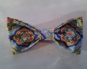Handcrafted Blue Paisley pre-tied clip-on bowtie