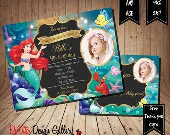 Little Mermaid Invitation, Little Mermaid Birthday Invitation ,Little Mermaid Party, Little Mermaid Invitations , Ariel, Under The Sea