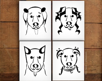 Music note art prints // DOG SERIES // Set of 4 music art prints - 5x7, 8x10, 11x14 Fine art prints / Music room decor / Music gift